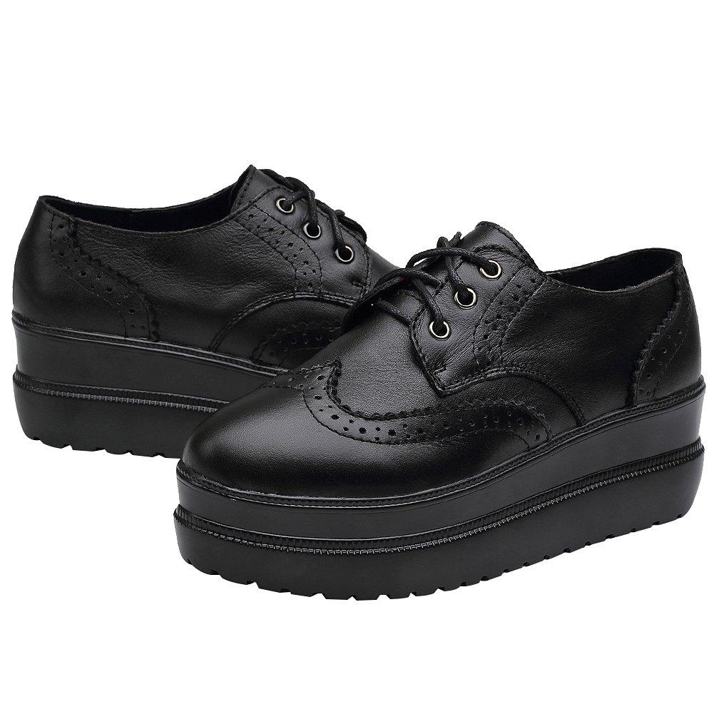 rismart Damen Brogue Design Keil Modisch Rein Schwarz Leder Schuhe Sneaker SN02719(Schwarz,EU40.5)