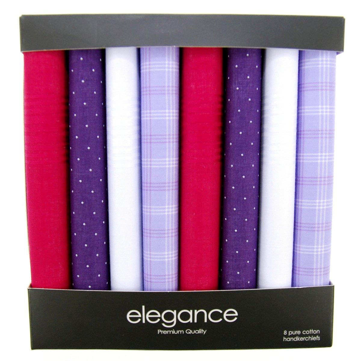 Retreez 8 Piece Pure Cotton Assorted Men's Handkerchiefs Hanky Gift Box Set Christmas gift - White RTZ-HNK8BOX-0001-SET005