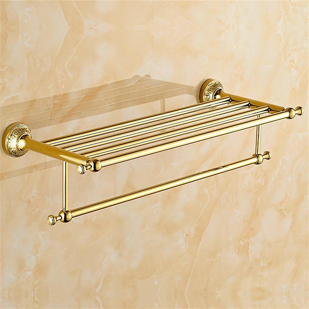 家庭の照明ゴールドアンティークタオル棚/タオルレール、ステンレススチールダブルデッキラック、壁掛け65 * 23.5cm B0795JJQCK