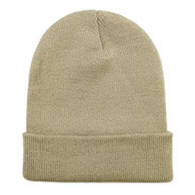 f9df729287f14 Opromo Unisex Plain Long Cuffed Beanie Fold Knit Hat Ski Skull Cap ...