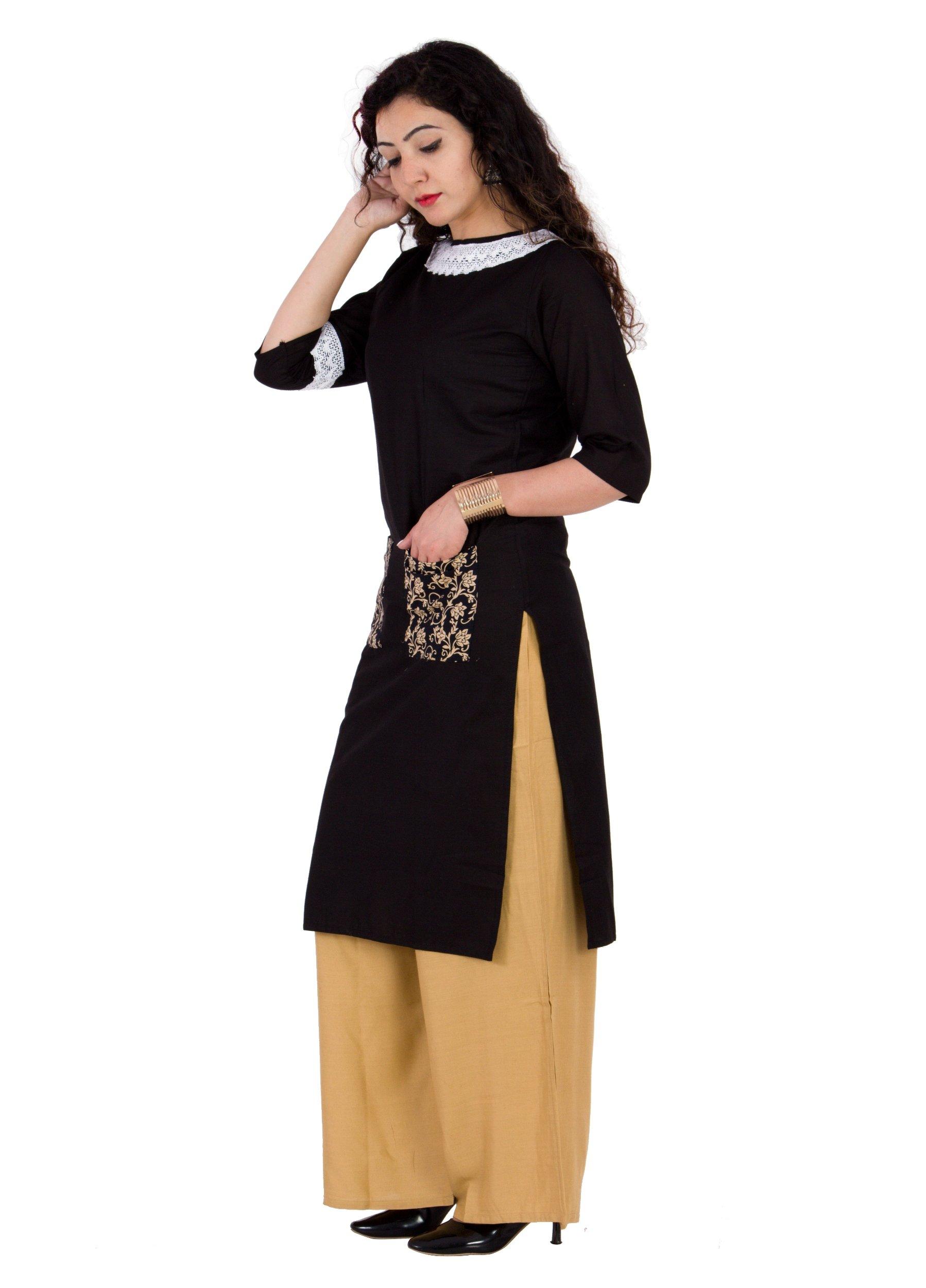 BrightJet Designer Black Cotton Lacework Women Fashion Kurti A-line Kurta Top Tunic with Rayon Solid Beige Plazzo Set Party Dress Casual (XXL) by BrightJet (Image #3)