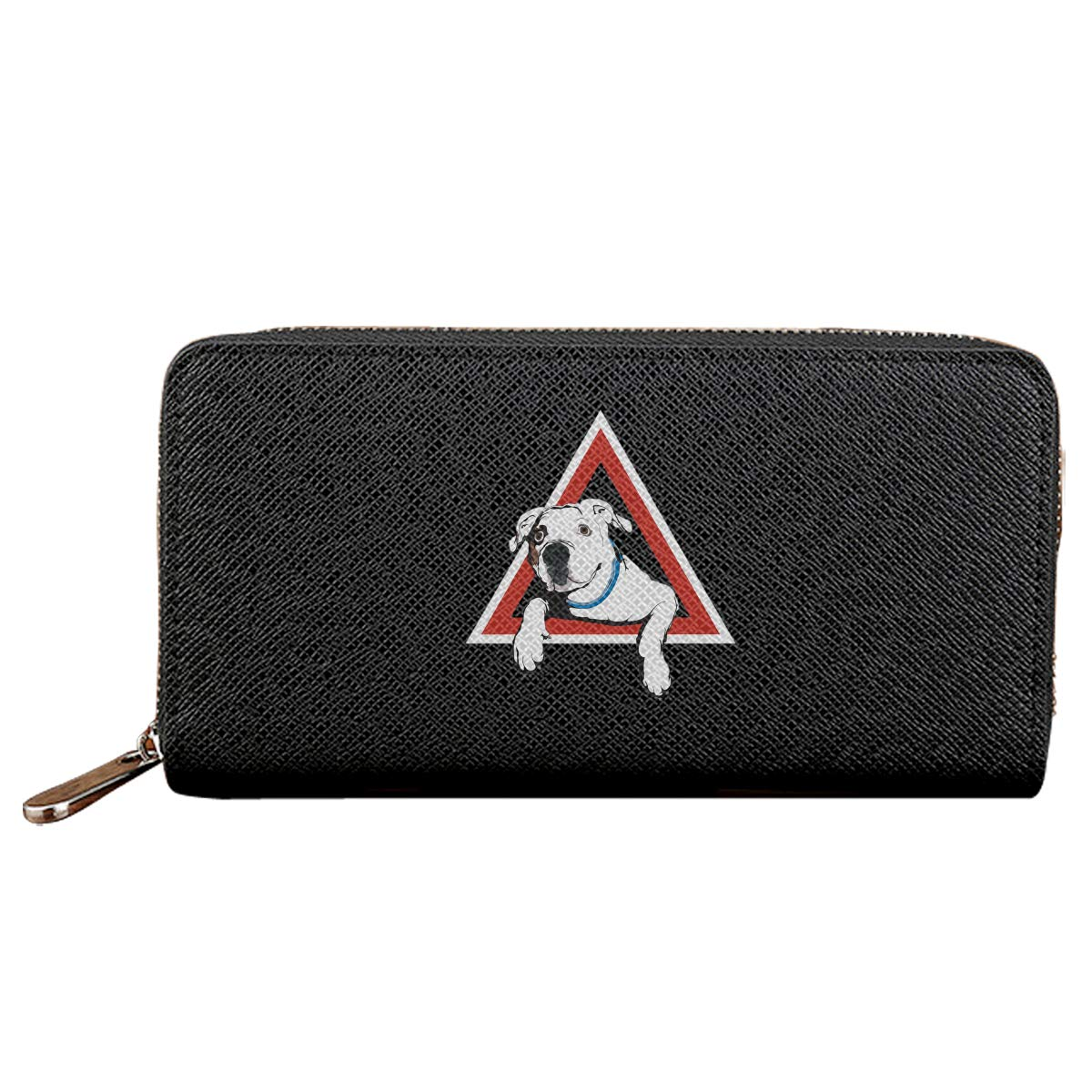 Jist Zovi American Bulldog On Board Mens Soft Leather Zipper Long Wallet Long Purse Black Mens Wallet Money Clip with 2 Cash Compartment Suit for Business Man