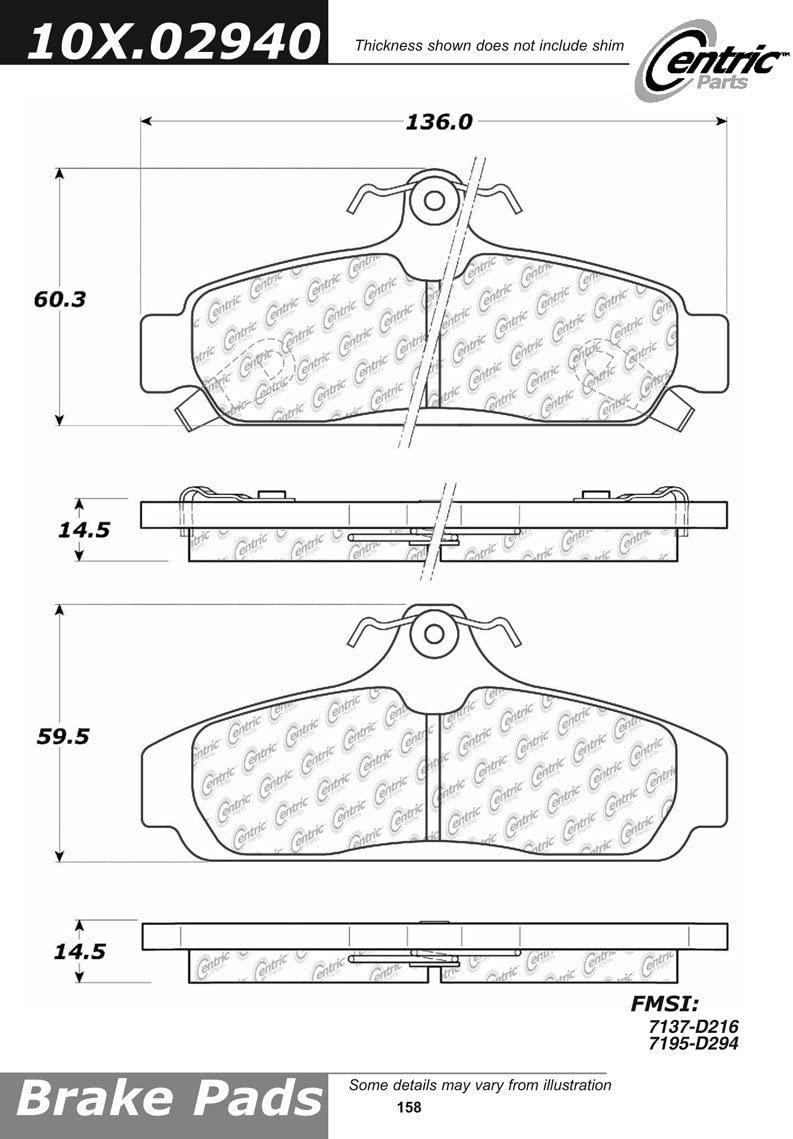 Centric Parts 102.07940 102 Series Semi Metallic Standard Brake Pad