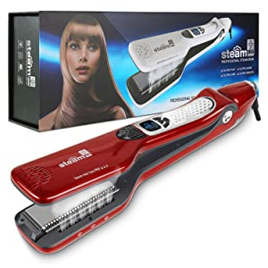 MKBOO Hair Straightener with Steam,Salon Professional Nano Titanium Ceramic Steam Flat Iron with Removable Comb+Digital LCD+5 Level Adjustable Temperature+Auto Temperature Lock Red