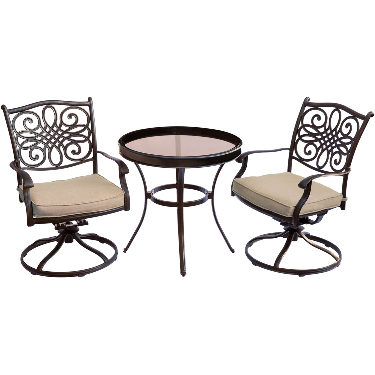 Hanover Traditions TRADDN3PCSWG 3-Piece Swivel Bistro Set in Tan with 30 in. Glass-top Table Outdoor Patio Furniture