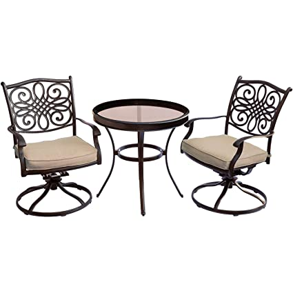 Marvelous Hanover Traditions Traddn3Pcswg 3 Piece Swivel Bistro Set In Tan With 30 In Glass Top Table Outdoor Patio Furniture Caraccident5 Cool Chair Designs And Ideas Caraccident5Info