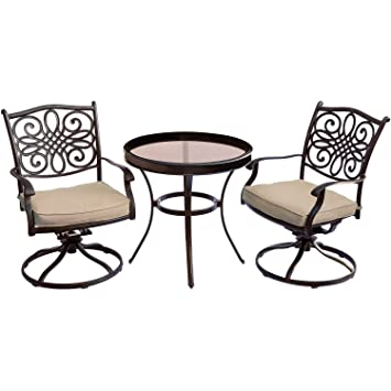 Wondrous Hanover Traditions 3 Piece Swivel Bistro Set In Tan With 30 Forskolin Free Trial Chair Design Images Forskolin Free Trialorg