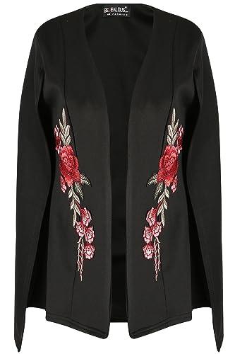 Oops OUTLET Mujer Mujer Rosa Bordado Chal con cuello abierto planos Chaqueta Abrigo Capa Top – Negro, Plus Size (UK 20/22)