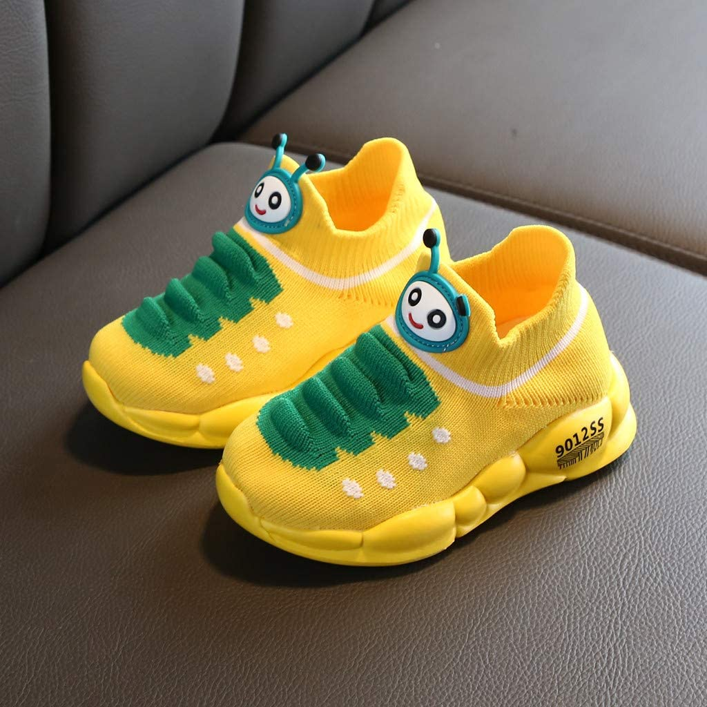 2-2.5 Years Old, Yellow Toddler Boys Girls Breathable Outdoor Running Shoes 1-7 Years Old Child Cartoon Sport Stretch Mesh Sneakers