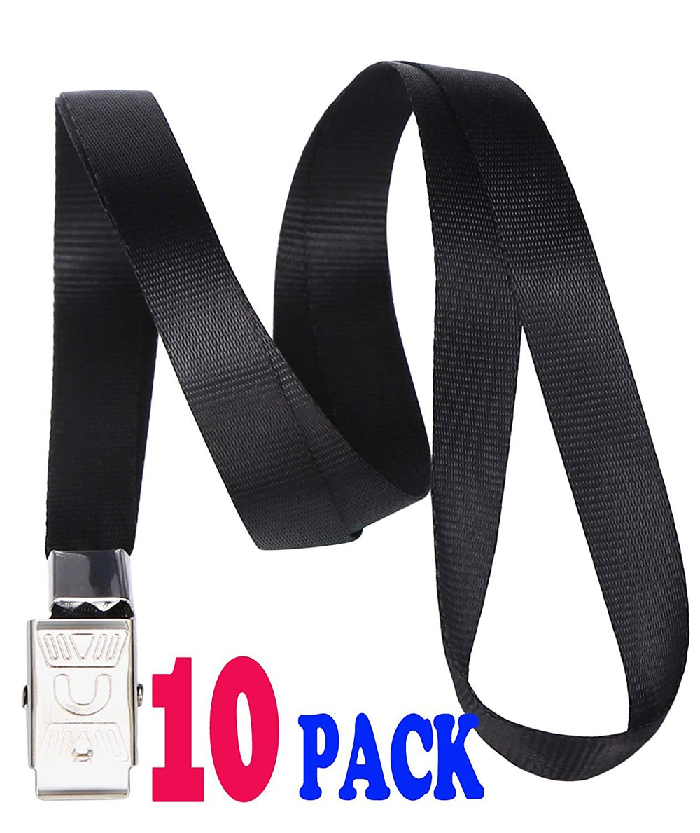 Black Lanyards, Bulk Lanyards for ID Badges Key Chain, Safety Flat Lanyard with Badge Clip by ACCBTECH - 10 Pack 33-inch