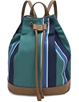 The Lovely Tote Co. Women's Striped Canvas Cinched Bucket Backpack Bag