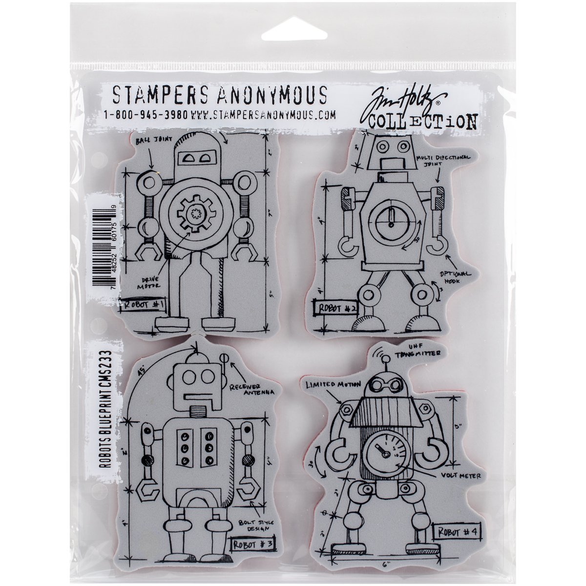 Stampers Anonymous Tim Holtz Cling Rubber Robots Blueprint Stamp Set 7 x 8.5