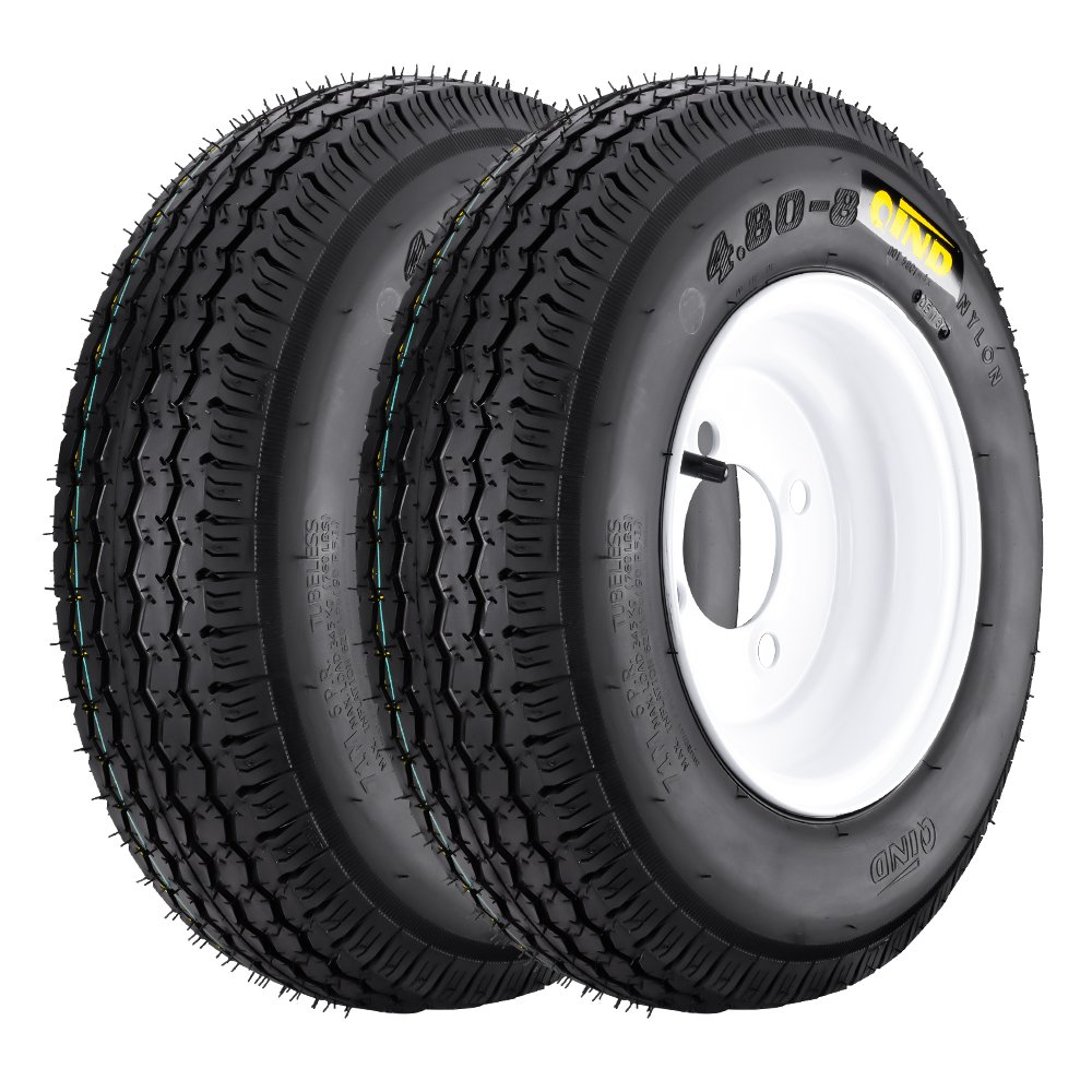 QD-712 Trailer Tires, 4.80-8 6 Ply Load C On White Rims 4 Lug/ 4'' Set of 2 for Boat Trailer