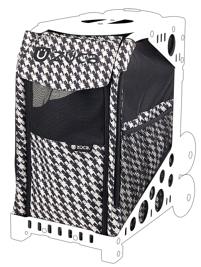 ZUCA Rolling Pet Carrier - Houndstooth Black Bag with Black Sport Frame and Flashing Wheels by ZUCA (Image #3)