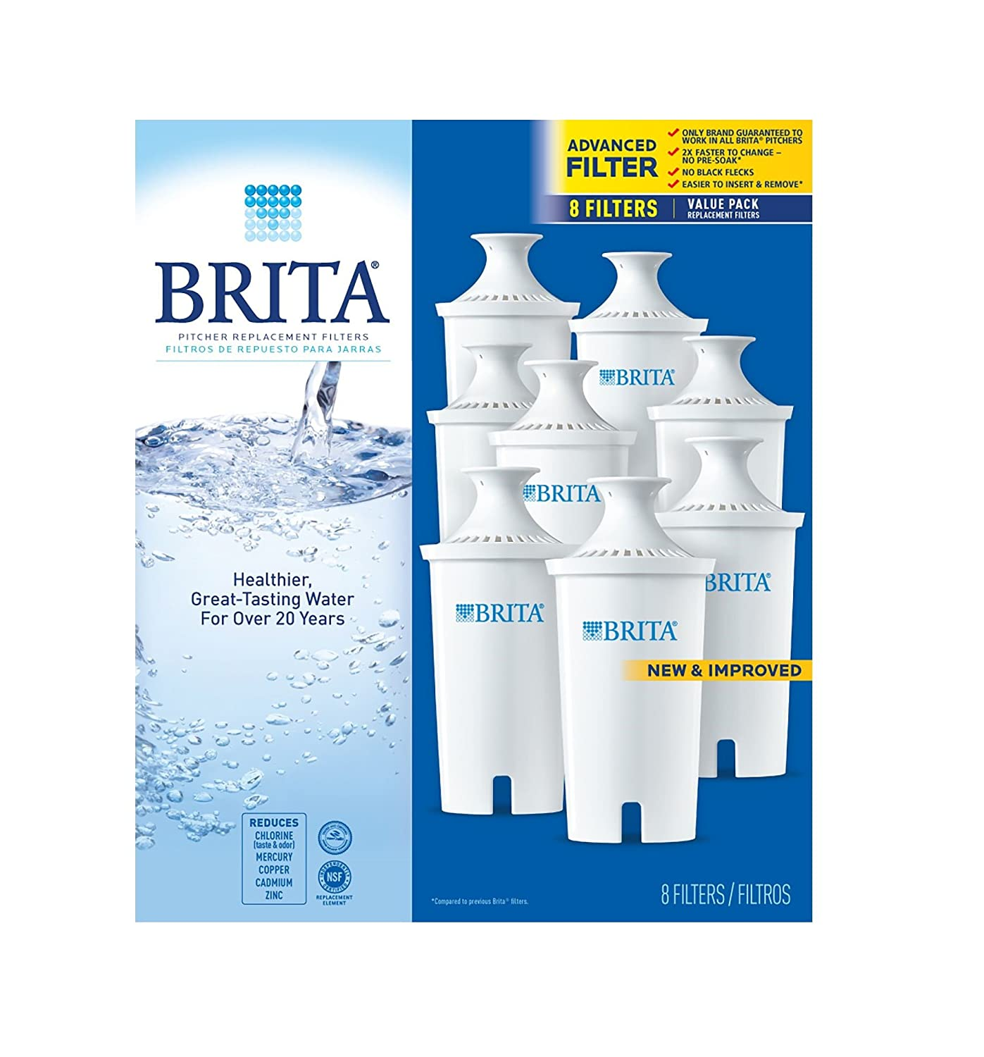 pack 8 35707 Brita Pitcher Replacement Filters