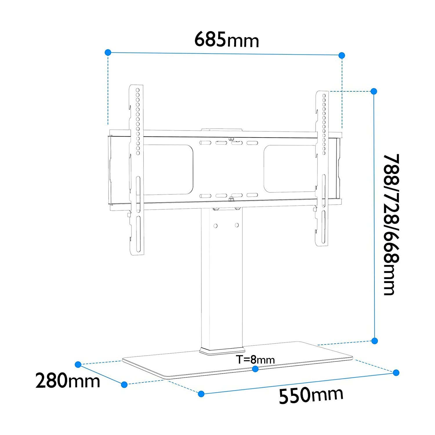1home Universal Table Top Pedestal Tv Stand With Bracket For 32 55 Engineering Schematics Plasma Flat Screen Lcd Led