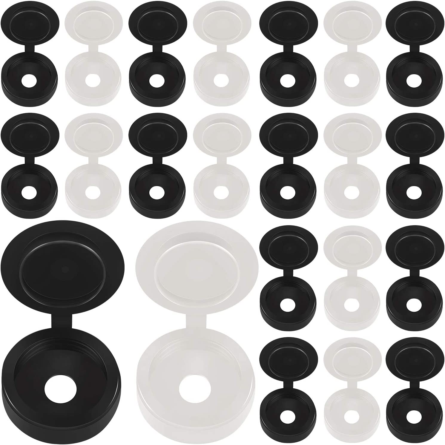 500 Packs Hinged Screw Cover Caps Plastic Screw Caps Fold Screw Snap Covers Washer Flip Tops (Black, White)