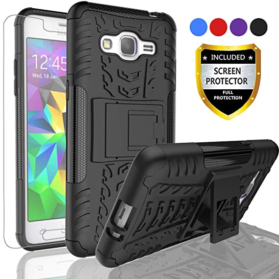 size 40 2b652 0be1f AYMECL Samsung Galaxy Grand Prime Case,Galaxy J2 Prime Case,Tire Pattern  Design Heavy Duty Dual Layer Shock Kickstand Cover with HD Screen Protector  ...