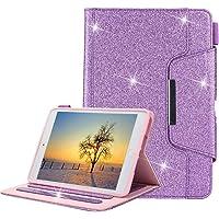 iPad Mini Funda, Apple iPad Mini 4/3/2/1 Estuche para Bolígrafo, Glitter Estuche para Cuero TPU para Interior [Cierre Magnético] Estuche para Billetera con Auto Sleep / Wake Función-Brillante Púrpura