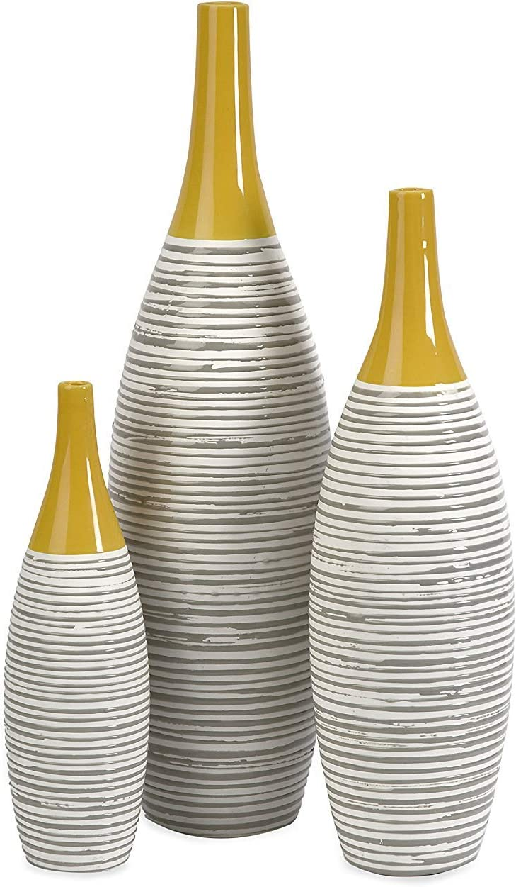 IMAX 11217-3 Andean Multi Glaze Vases [Set of 3] - Fine Ceramic Vases with Yellow Glaze, Hand-Painted Neutral Stripes, Home Decor Accessories