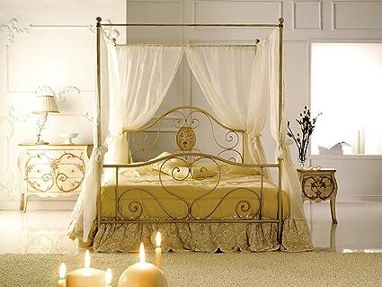 Letto Matrimoniale Baldacchino Prezzi.Bed Store Letto Matrimoniale In Ferro Battuto Modello Lory Avorio