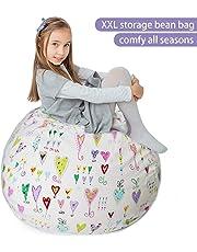 Stuffed Animal Storage Bean Bag XXL – 100% Cotton Canvas Plush Toy Organizing Bag, Machine Washable, Comfortable & Soft Seat For Nursery | Stylish Chair/Ottoman/Pouf For Boys & Girls