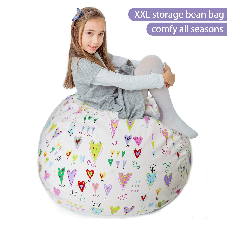 Stuffed Animal Storage Bean Bag XXL - 100% Cotton Canvas Plush Toy Organizing Bag, Machine Washable (38'',Hearts) Comfortable & Soft Seat for Nursery | Stylish Chair/Ottoman/Pouf for Boys & Girls by BOF Creations