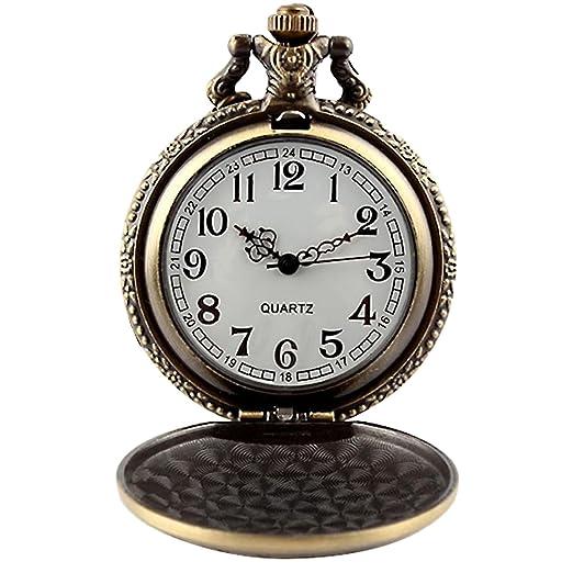 Reloj de bolsillo para hombre color de bronce antiguo aleación collar colgante con cadena de hierro blanco Dial cuarzo relojes: Amazon.es: Relojes