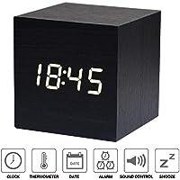 Xagoo Réveil Matin Horloge Digital Cube avec Activation Vocale NewTop Réveil Numérique de Voyage LED Horloge de Bureau, Alimenté par USB ou Batterie (Bois Noir & Blanc Mot)