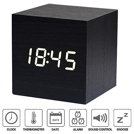 Aseller Reloj Despertador Digital LED de Madera, Mini Cubo Minimalista con Fecha y Temperatura Control