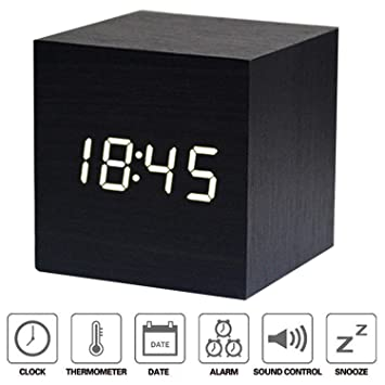 NewTop Despertador Digital Cube LED Digital Reloj de Mesa, Despertador Digital para mesilla con horario