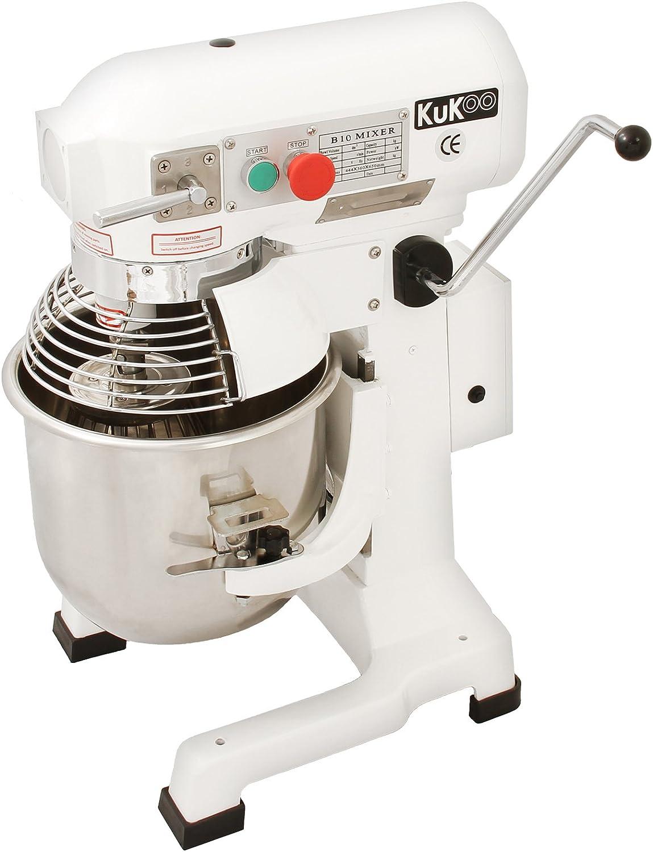 KuKoo Robot Batidora 550W Amasadora Repostería Profesional Robot de Cocina Automática Multifuncional Planetaria Industrial 10 Litros Raspador de acero GRATUITO