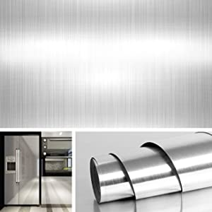 """Livelynine 15.8""""x197"""" Blushed Nickel Peel and Stick Wallpaper Stainless Steel Contact Paper for Countertops Kitchen Cabinets Appliance Dishwasher Mini Refrigerator Oven Dryer Covers"""