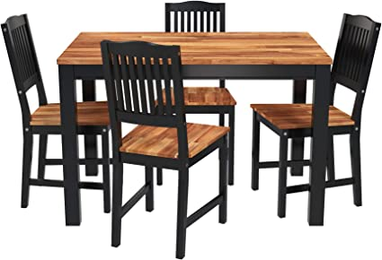Amazon Com Interbuild Real Wood Swoppmokk 5 Piece Dining Table Set With Butcher Block Wood Top 1 Table 4 Chairs Black Home Kitchen