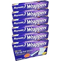 Reynolds Wrappers Pop Up / Foil Sheets (6 Packs) No cutting or Tearing (Packaging May Vary)