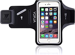Sweat Resistance Armband Cell Phone Running Holder for iPhone X/8/7/6/6s & Galaxy S7/S6/S5-YORJA Sports Arm Band Case for Jogging,Workout,Hiking,Gym-with Key Slot,Card & Money Pocket (Black)