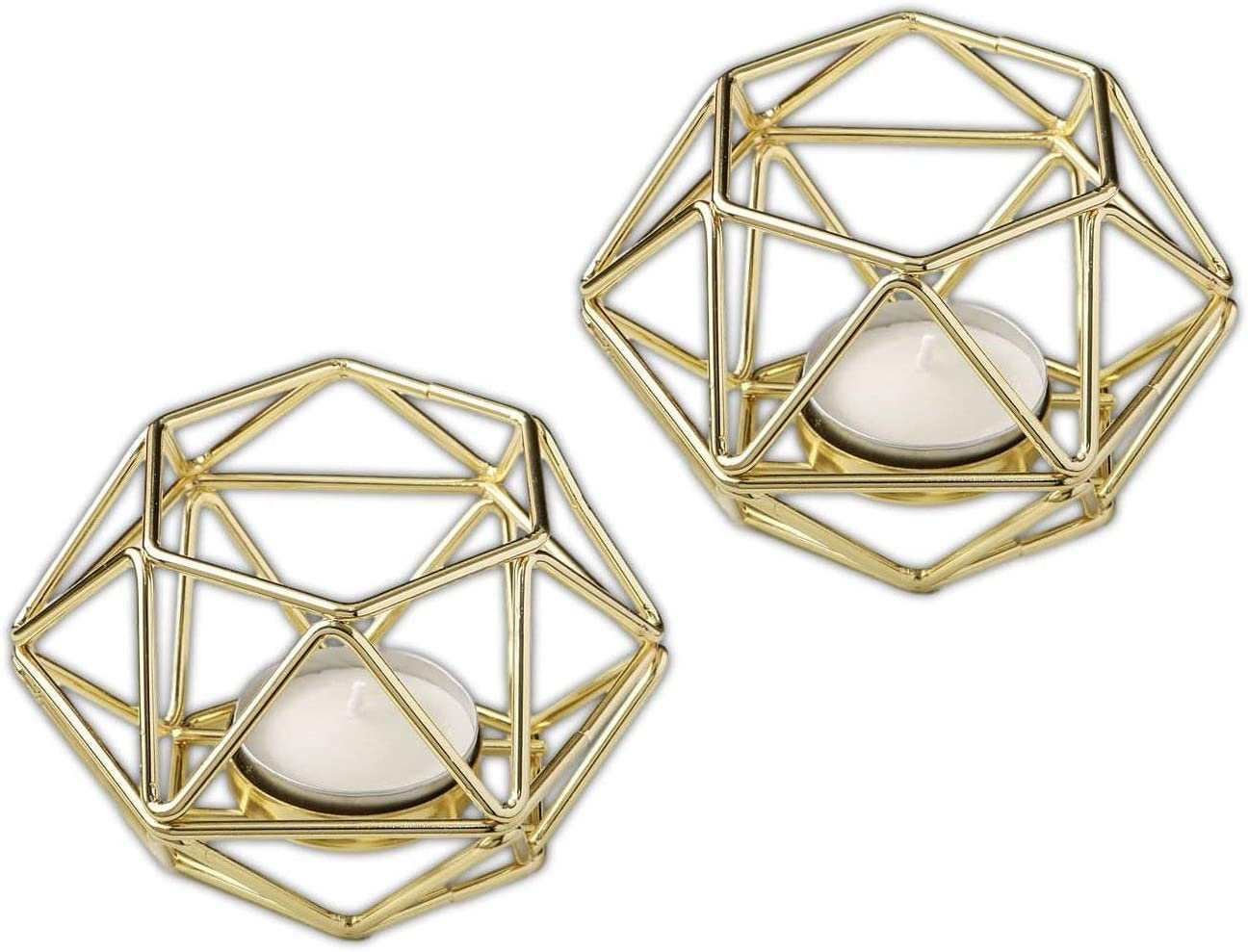 "FASHIONCRAFT Bundle of 2 4"" Gold-Tone Geometric Hexagon Tea Light Candle Holders"