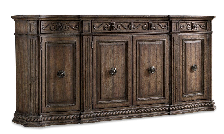 amazoncom hooker furniture rhapsody 4door credenza in rustic walnut buffets u0026 sideboards - Credenza Furniture
