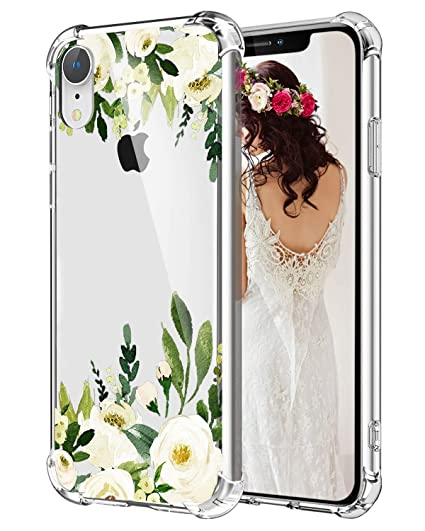competitive price 71725 ef356 Hepix iPhone XR Case Flowers White Rose Floral XR Cases, Protective Clear  Xr Phone Cases Soft Flexible TPU Frame Anti-Scratch Shock Absorbing Case