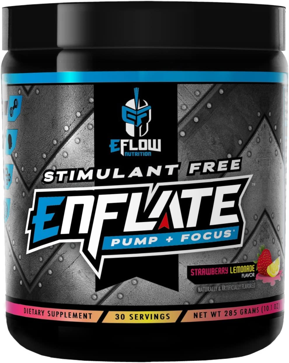 eFlow Nutrition Enflate Stimulant Free Preworkout Supplement – Pump and Focus Nootropic Pre Workout Powder to Boost Focus for Men Women – Strawberry Lemonade 30 Servings