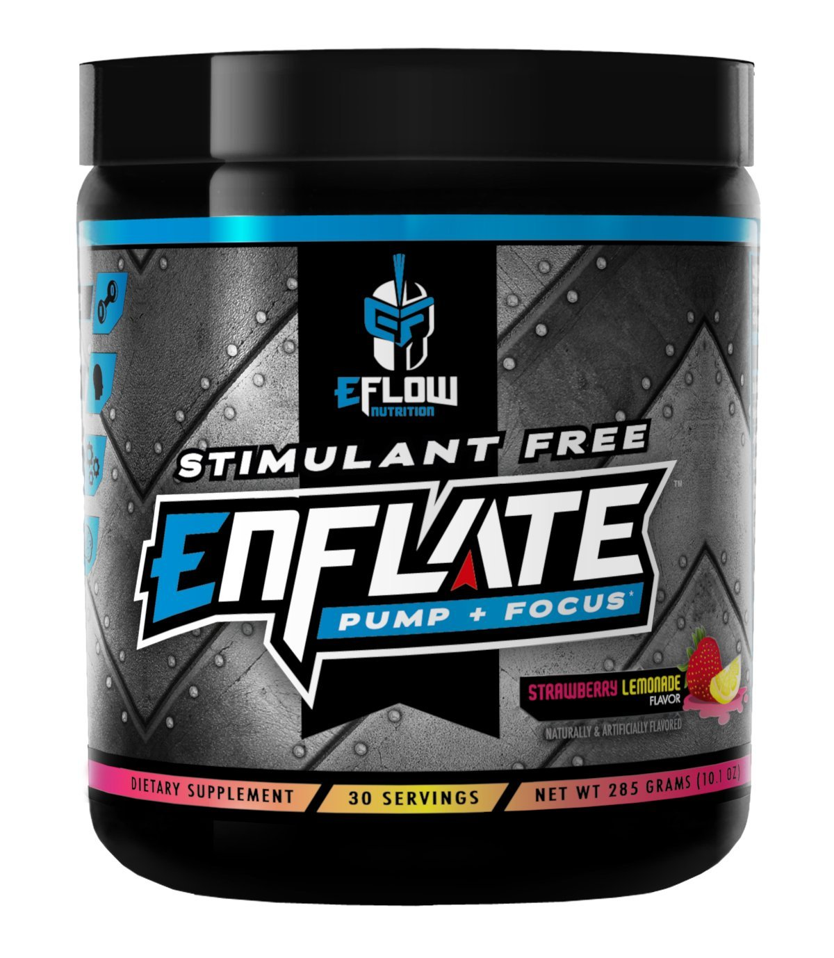 eFlow Nutrition ENFLATE Stimulant Free Pump Focus preworkout Strawberry Lemonade