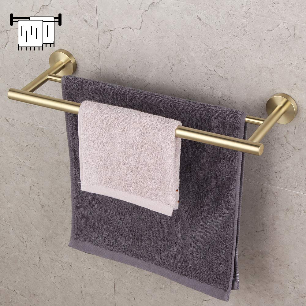 Bathroom Hardware Set 4 Pieces Brushed PVD Zirconium Gold SUS 304 Stainless Steel Bathroom Hardware Accessories Sets Wall Mounted Double Towel Bar Towel Holder Hook Toilet Paper Holder by GERZ (Image #2)
