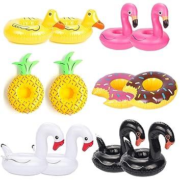 ANGTUO 12 PCS flotador portabebidas Flamingo Swan bebida inflable taza flotador barcos piscina baño de juguete