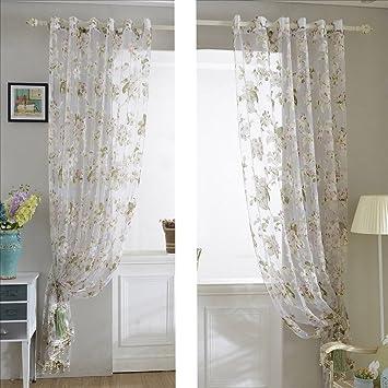 KinloR 145 X 245cm Blickdicht Gardinen Schlaufenschal Aus Ausbrennartikel1 Stcke Tllvorhang Vorhang Mit