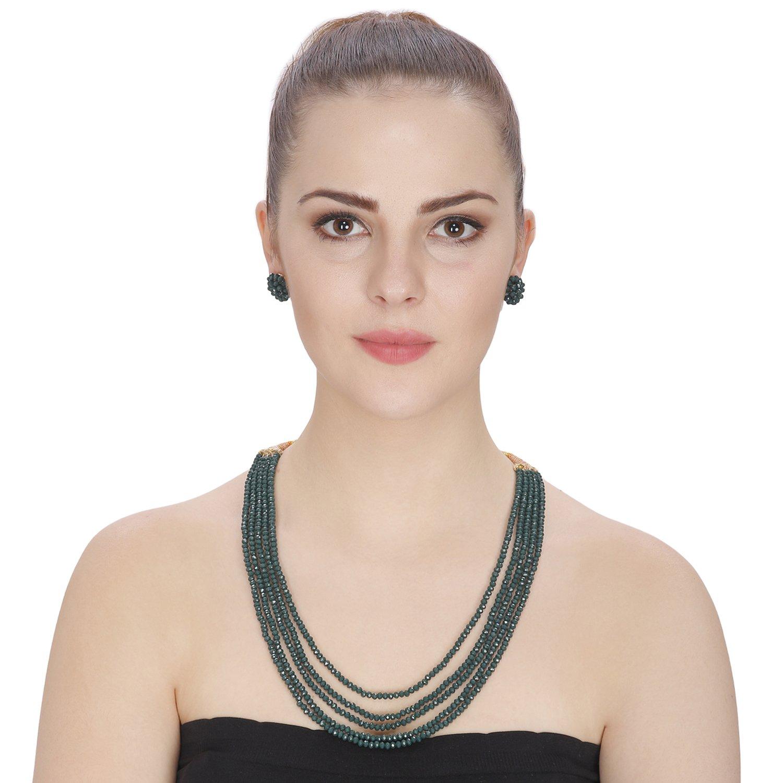Aradhya Big Girls Five Layer Dark Green Real Pure Onyx Stone Beads Necklace