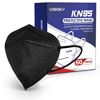 KN95 Face Mask 60 Pcs, Vibeey Individually Wrapped Cup Mask, 5-Ply Layer Filter Efficiency≥95% (Black)