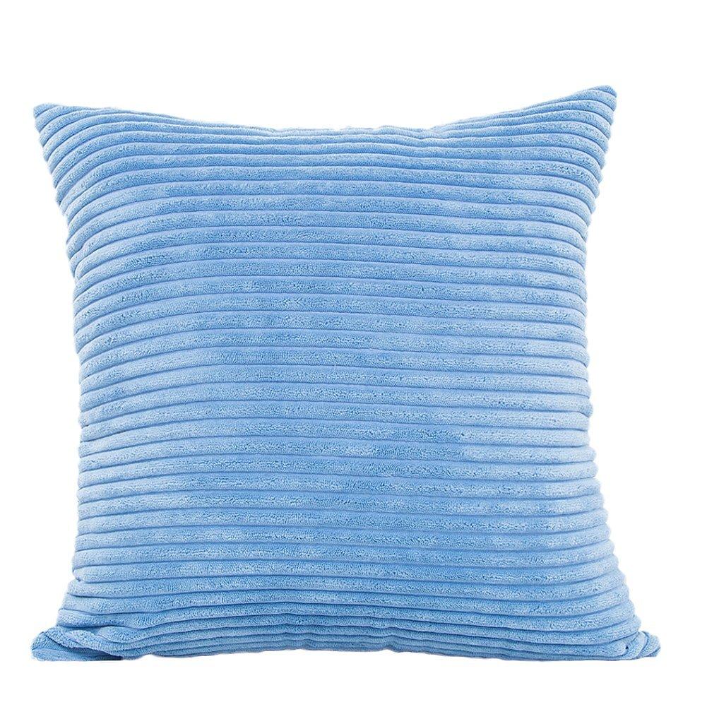 Gespout Copertura del Cuscino Fodera a Coste per Cuscino Quadrato per Divani a Tinta Unita Decorazione per la Casa Bianco 45cmx 45cm
