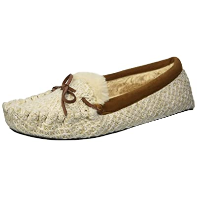 Amazon.com | Dearfoams Women's Mixed Material Moccasin Slipper | Slippers