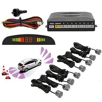 Sensores de aparcamiento,OSAN LED Kits de Detector de Radar Marcha y Atras con 8 Sensores Gris: Amazon.es: Coche y moto