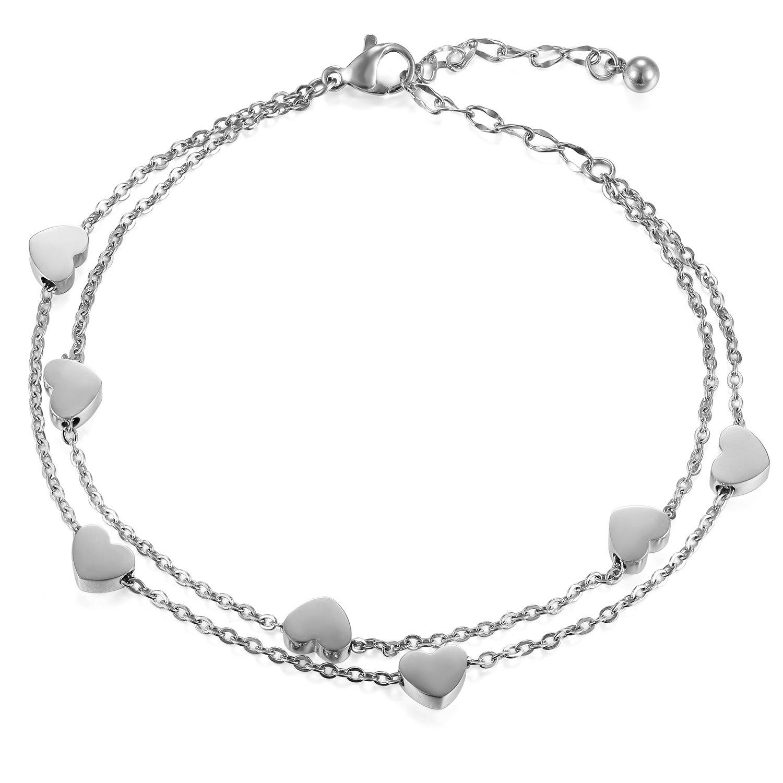Women Stainless Steel Heart Love Charm Bracelet, Cupimatch Adjustable Wrist Link Chain CU-MI-52-US